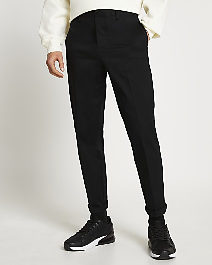 Black relaxed fit chino trousers