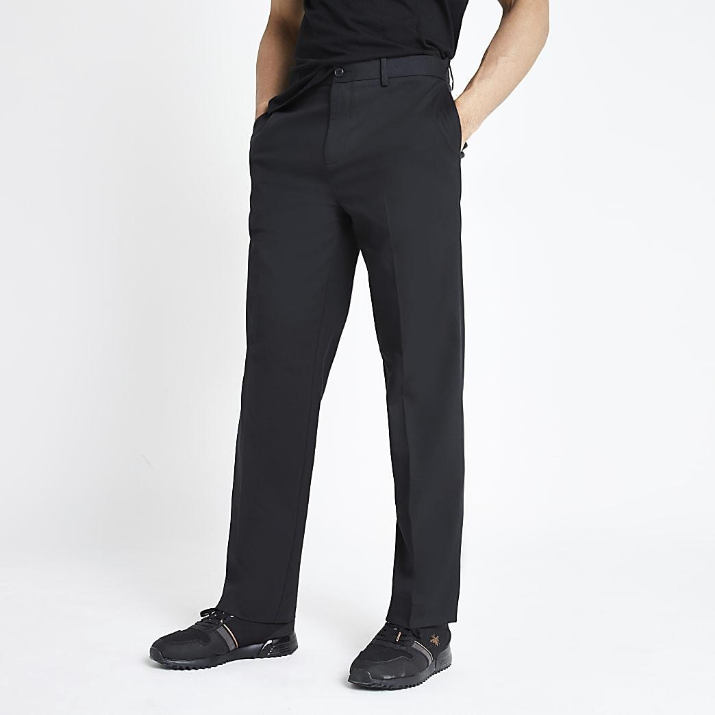 Zwarte broek met relaxte pasvorm en wijde pijpen