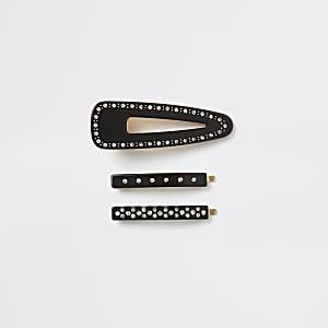 Black resin diamante hair clip 3 pack