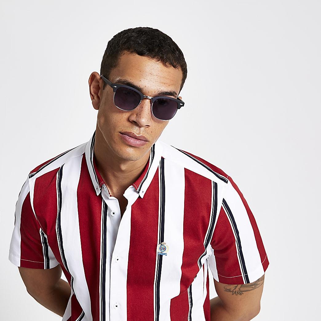 Black retro frame sunglasses