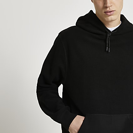 Black reverse fabric pocket hoodie