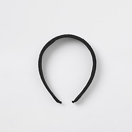 Black rhinestone alice headband
