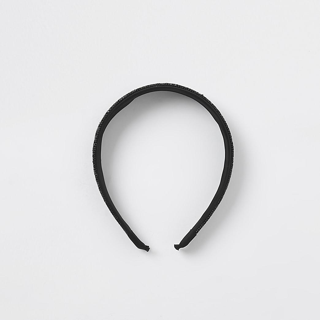 Black rhinestone alice headband