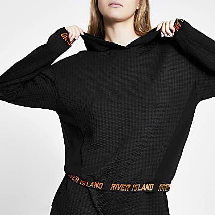 Black RI active long sleeve mesh hoodie
