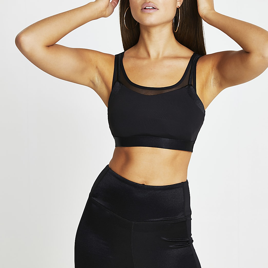 Black RI Active mesh sports crop top
