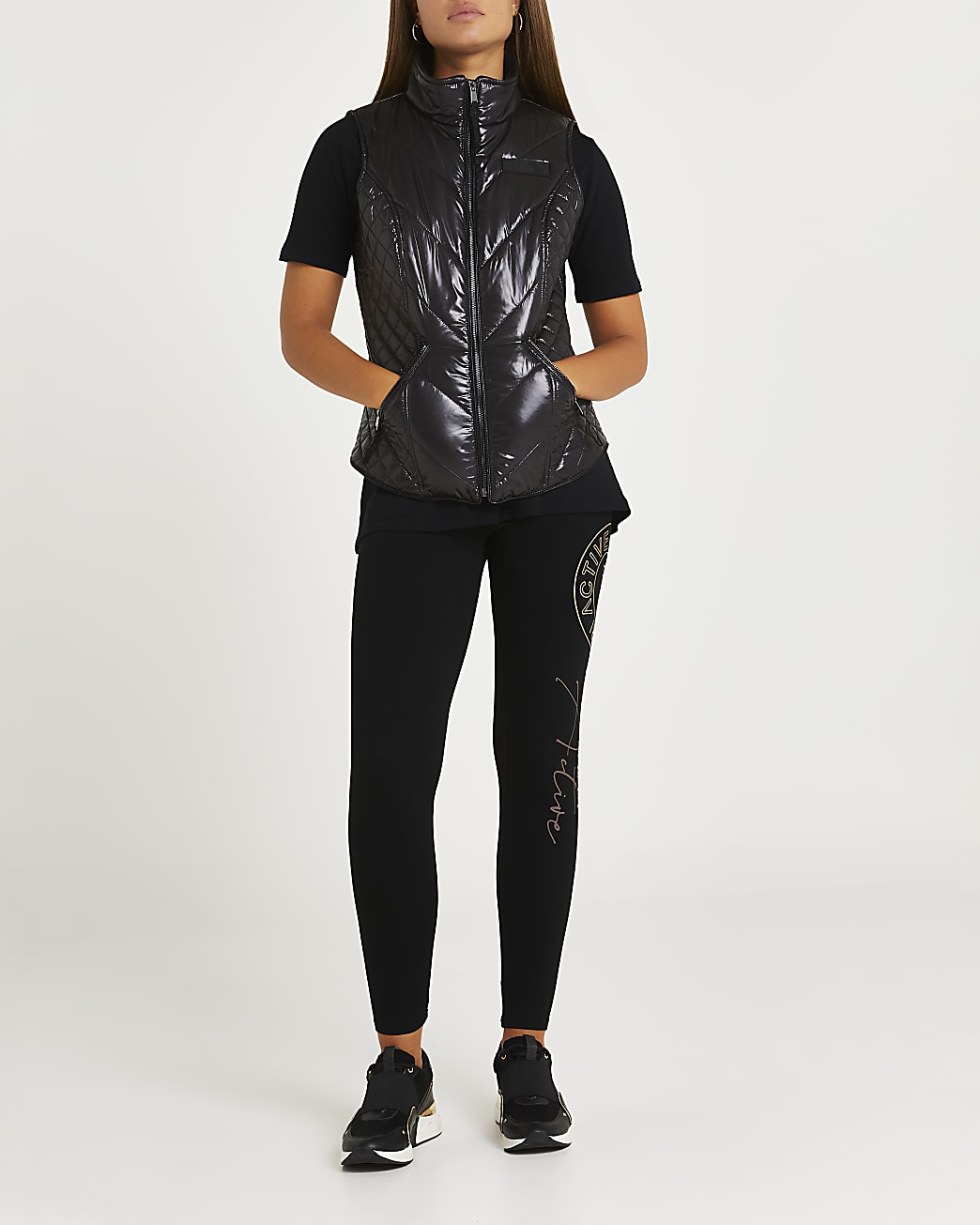 Black RI Active quilted patent gilet