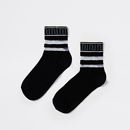 Black RI ankle socks