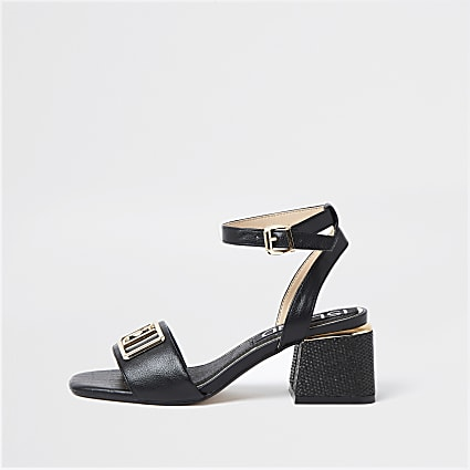 Black RI ankle strap low heel sandals