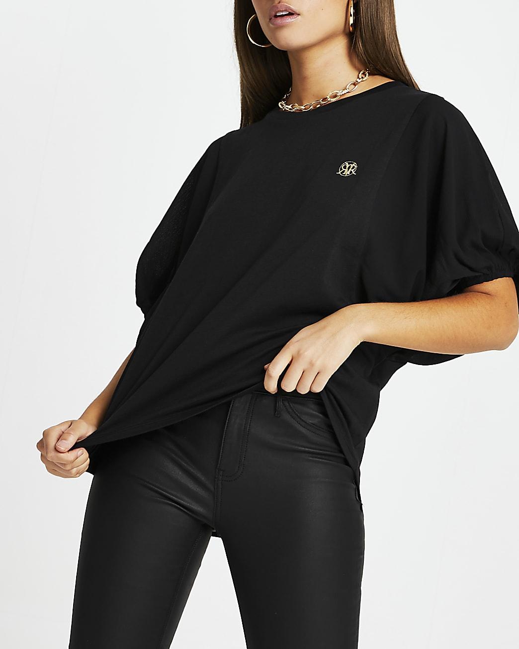 Black RI batwing balloon sleeve top