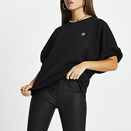 Black RI batwing balloon sleeve top