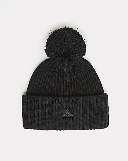 Black RI branded bobble beanie hat