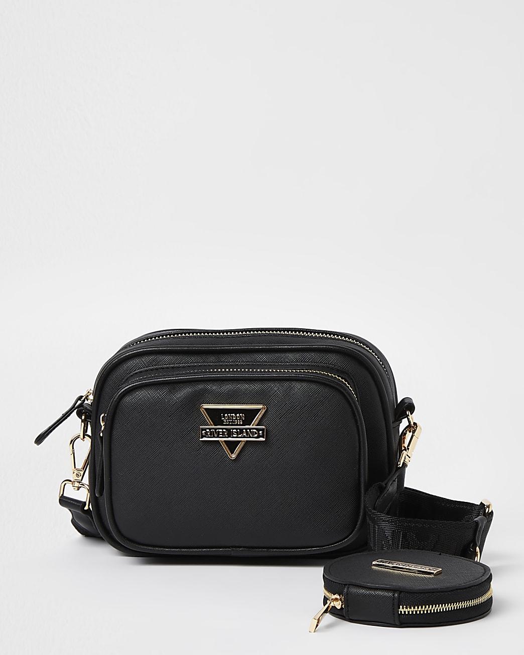Black RI branded cross body bag