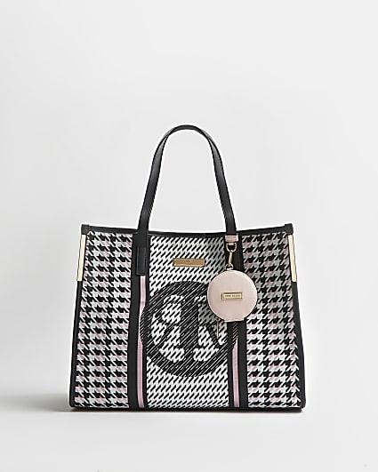 Black RI branded dogtooth shopper bag