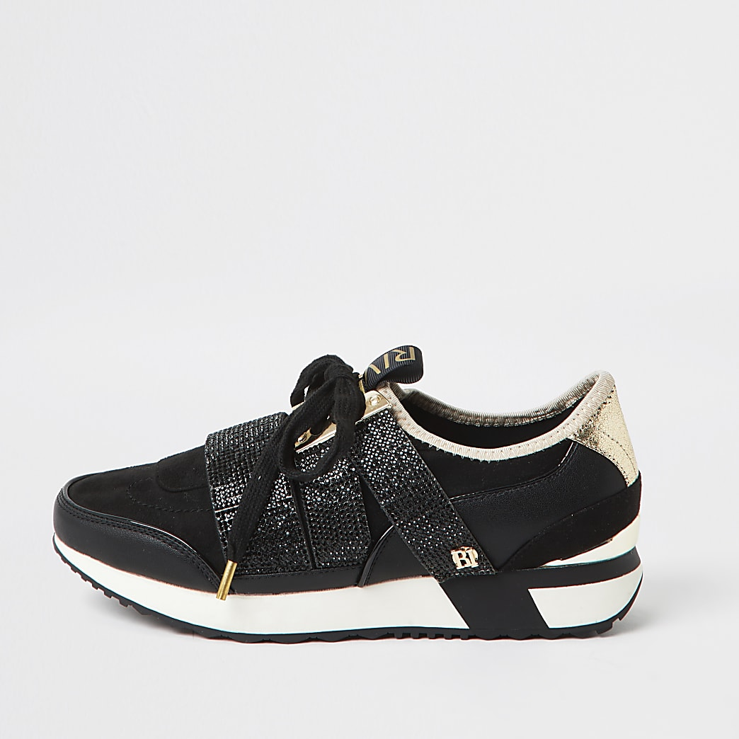 Black RI branded embellished runner trainers