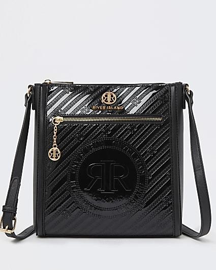 Black RI branded embossed messenger bag