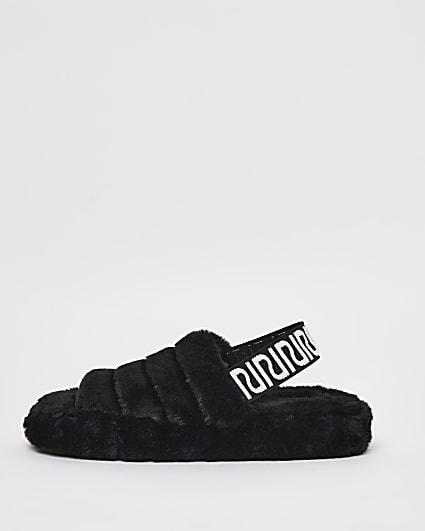 Black RI branded faux fur slippers