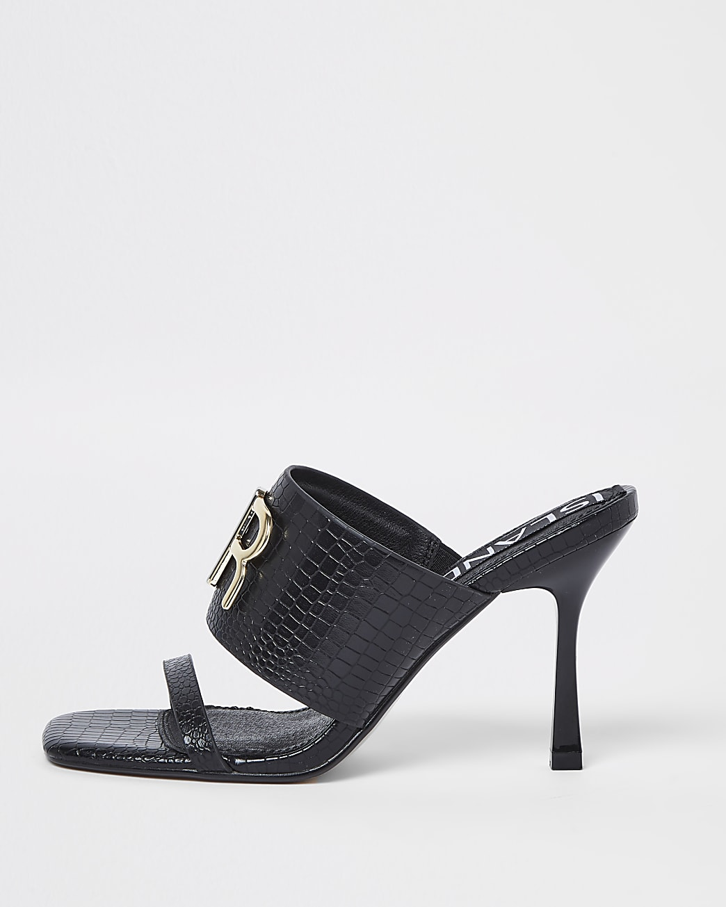 Black RI branded heeled mules