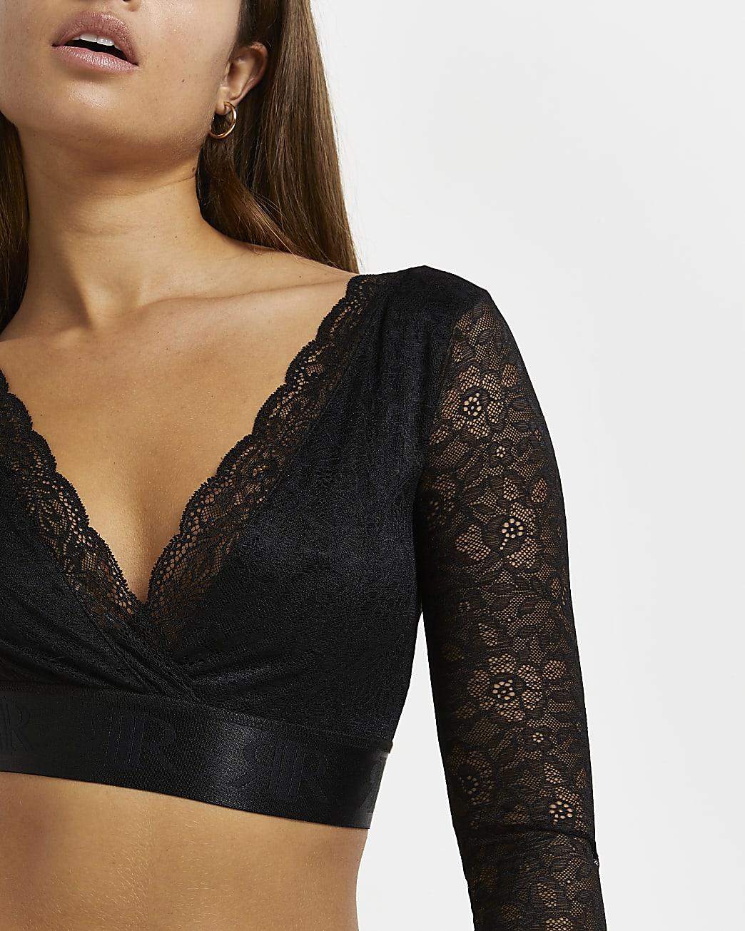 Black RI branded lace crop top