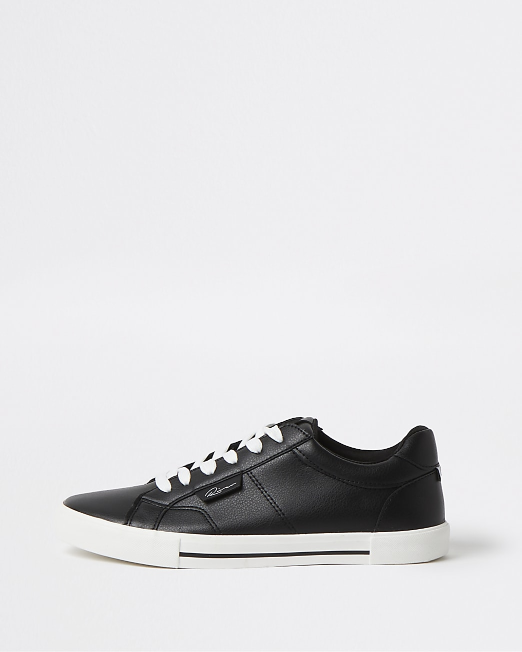 Black RI branded lace up trainers