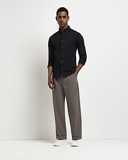 Black RI branded muscle fit long sleeve shirt