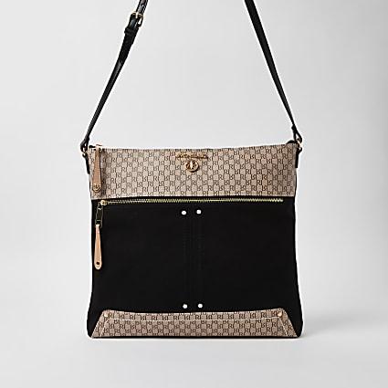 Black RI branded oversized messenger bag