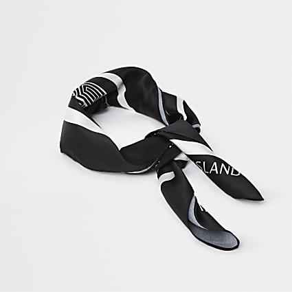 Black RI branded printed scarf