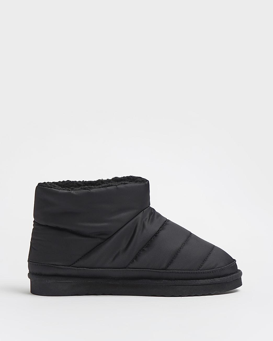 Black RI branded puffer boot slippers