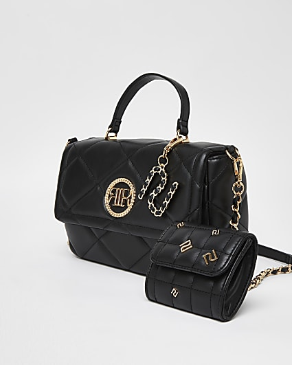 Black RI branded quilted cross body bag