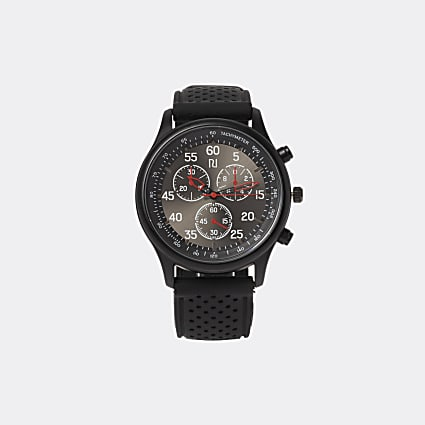 Black RI branded red detail strap watch