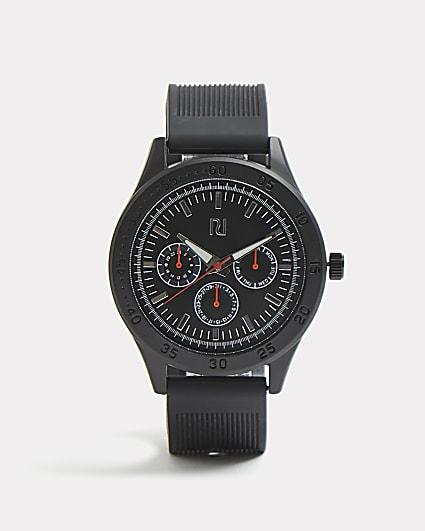Black RI branded ribbed watch