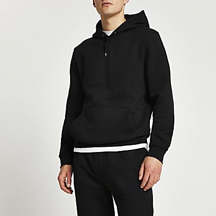 Black RI branded slim fit hoodie