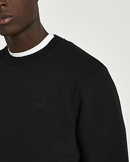 Black RI branded slim fit sweatshirt