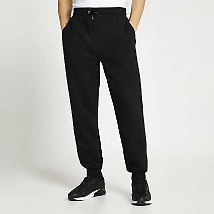 Black RI branded slim fit tapered joggers