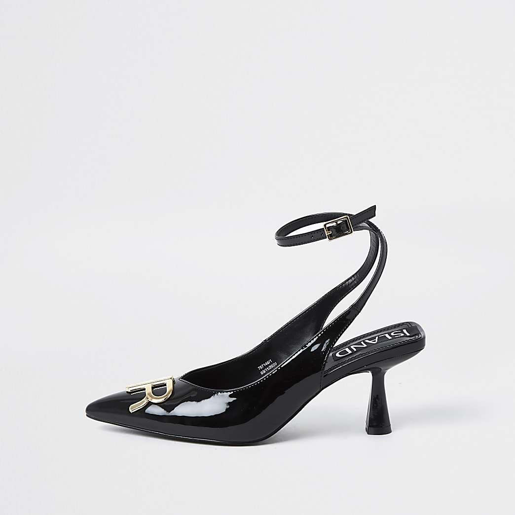 Black RI branded sling back heels