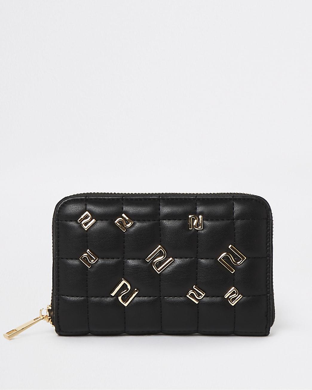 Black RI branded studded purse