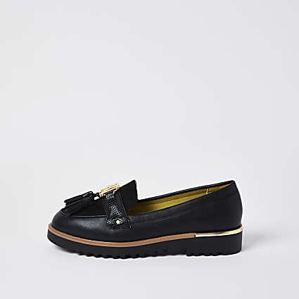 Black RI branded tassel detail loafer