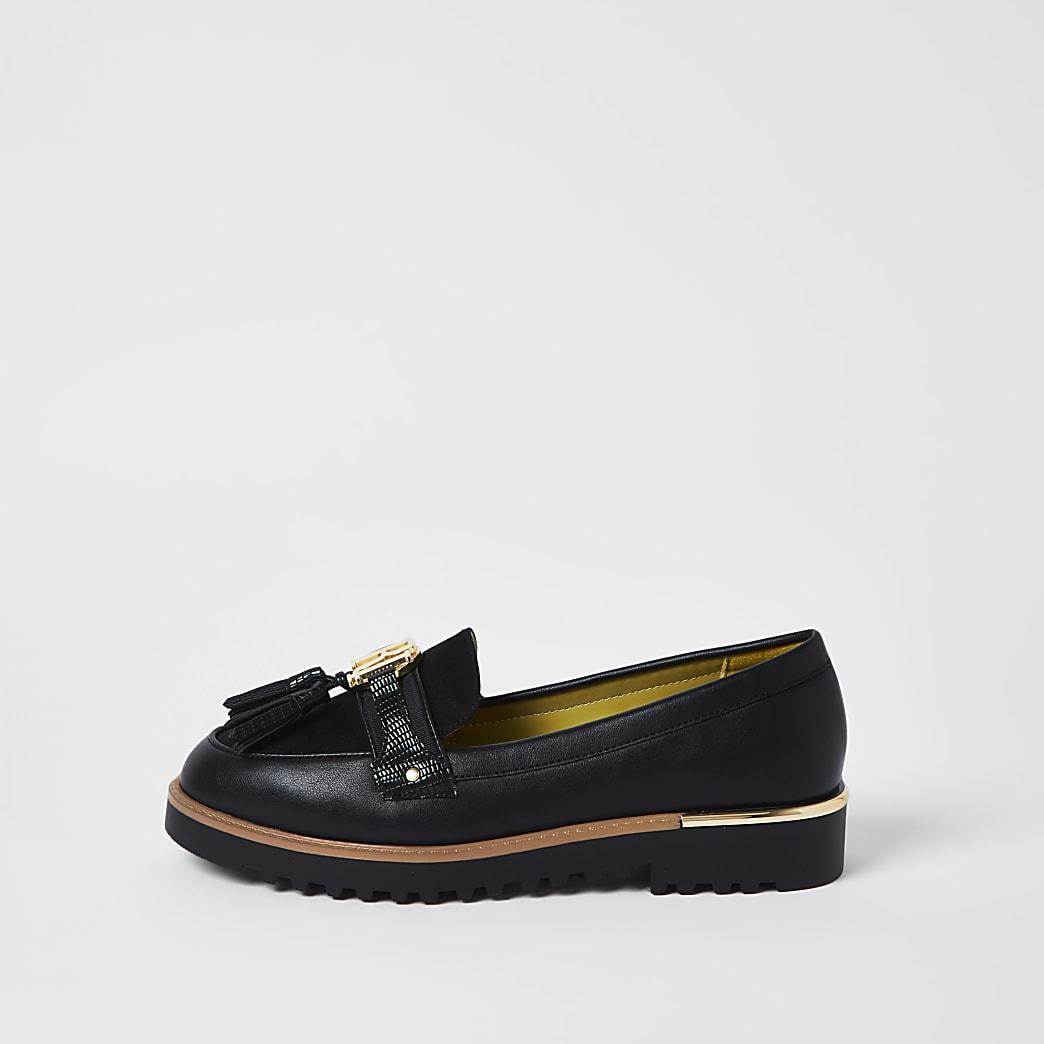 Black RI branded tassel detail loafer
