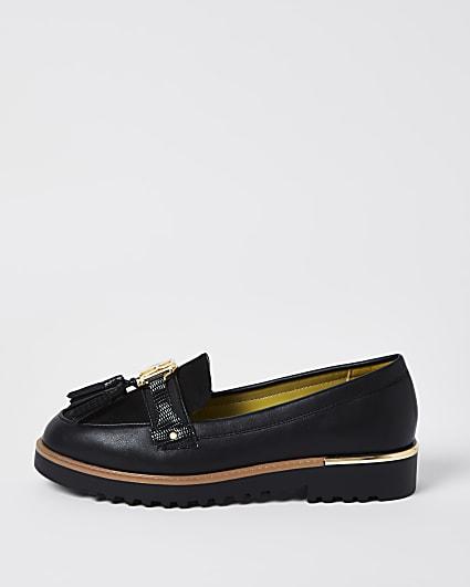 Black RI branded tassel loafers