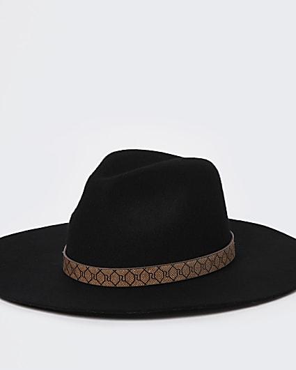 Black RI branded wide brim fedora hat