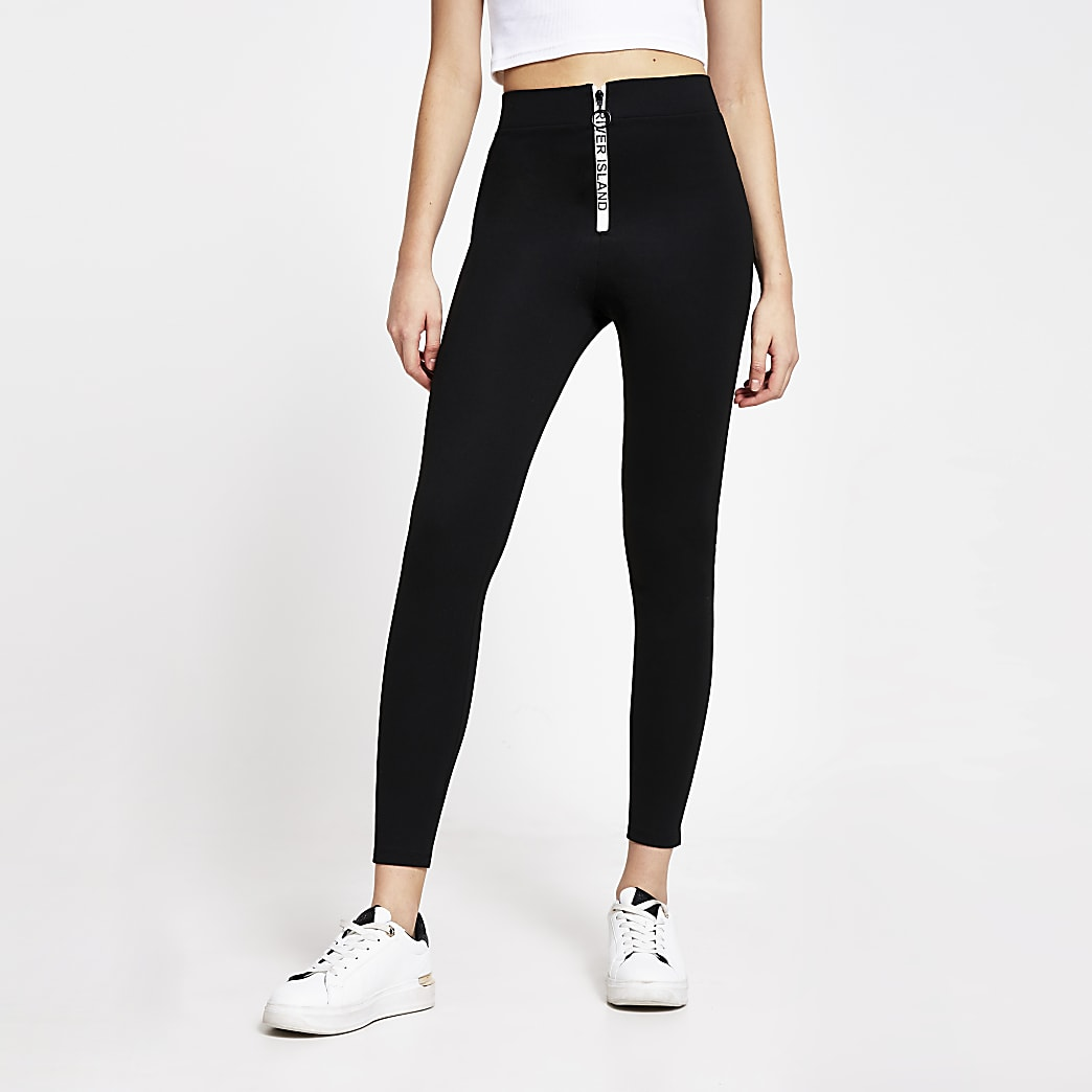 Black RI branded zip front leggings