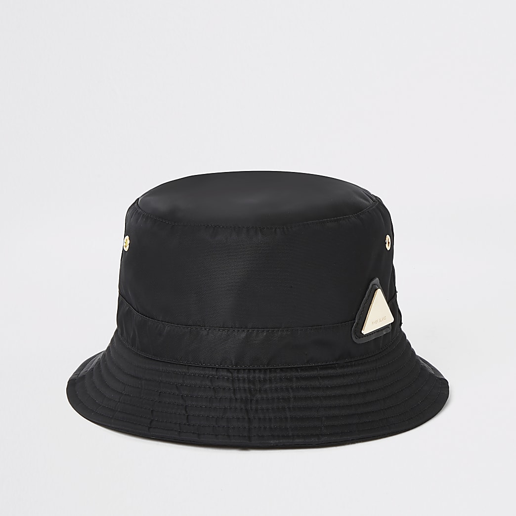Zwarte bucket hat met RI-logo