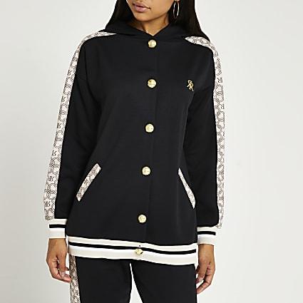 Black RI button hoodie