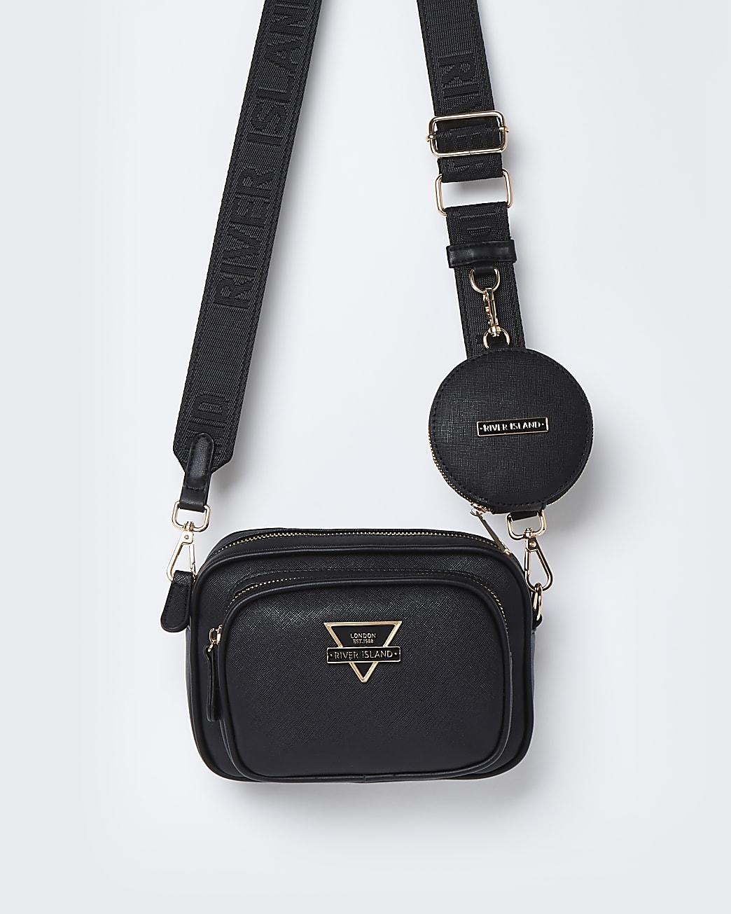 Black RI camera bag with mini pouch