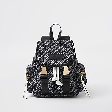 Black RI chai print backpack