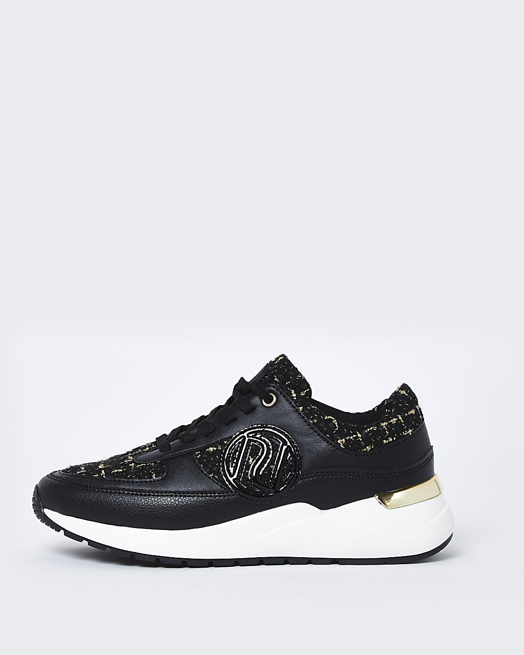 Black RI chunky lace up boucle trainers