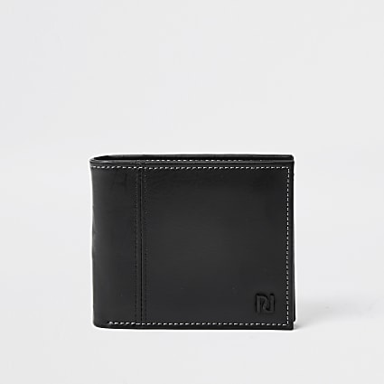 Black RI contrast stitch wallet
