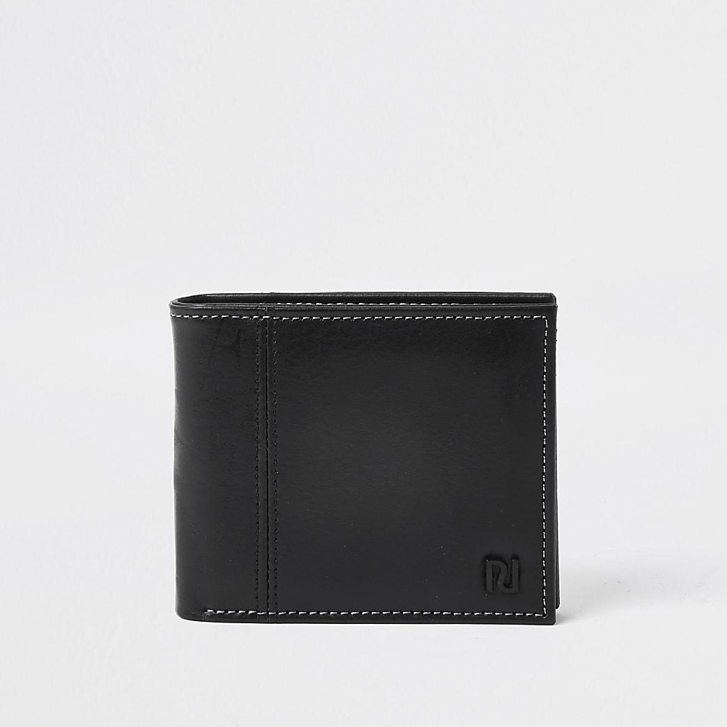 Black RI contrast stitch wallet