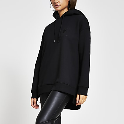Black 'RI Couture' longline hoodie
