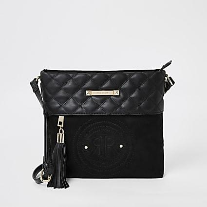Black RI crest cross body messenger bag