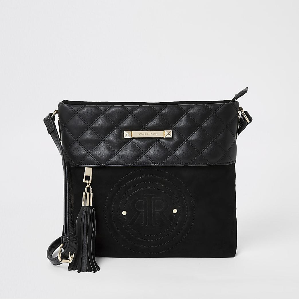 Black RI crossbody messenger bag